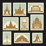 Moscow symbols stamps. Set of Moscow historic sights post stamps. Red square, Saint Basil`s Cathedral, Bolshoi Theatre, Ostankino Tower. Soviet retro design for Stock Photos