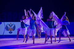 Moscow team by Rhythmic gymnastics Royalty Free Stock Photo