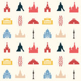 Moscow theme background. Seamless pattern made of Moscow symbols in vintage colors Royalty Free Stock Images