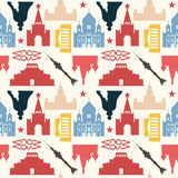 Moscow theme background. Seamless pattern made of Moscow symbols in vintage colors Royalty Free Stock Image