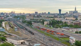 Moscow timelapse, evening view of the third transport ring and the central part of Moscow`s rings, traffic, car lights. Moscow timelapse, evening aerial top view stock video