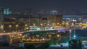 Moscow timelapse, night view of the third transport ring and the central part of Moscow`s rings, traffic, car lights. Moscow timelapse, night aerial top view of stock video footage