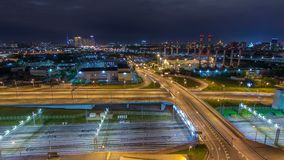 Moscow timelapse, night view of the third transport ring and the central part of Moscow`s rings, traffic, car lights. Moscow timelapse, night aerial top view of stock footage