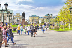 Moscow. Tourists in the Alexander Garden Stock Photography