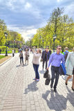 Moscow. Tourists in the Alexander Garden Stock Photos