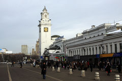 Moscow. Tower of Kievskiy railway station. And square near this tower Stock Photo