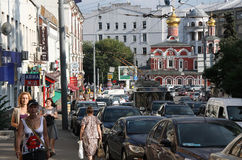 Moscow traffic. Traffic jam at the old Moscow central street - Lubyanskiy Passage, Russia Royalty Free Stock Photo