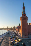 Moscow traffic jam near Kremlin at sunset. Russia Royalty Free Stock Images