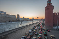 Moscow traffic. Near the river Royalty Free Stock Images