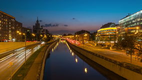 Moscow traffic at night stock footage