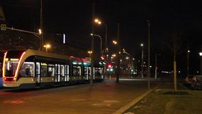 Moscow tram at night stock video footage