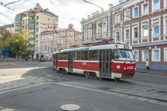 Moscow Tram walking down the street Stock Photography
