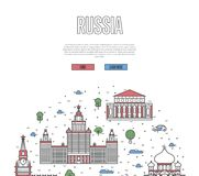 Moscow travel tour poster in linear style Royalty Free Stock Photography