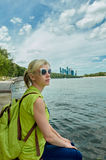 Moscow travel - woman and river Royalty Free Stock Photos