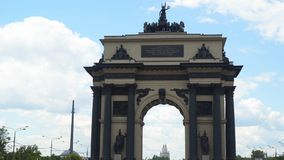 The Moscow Triumphal Gates is a triumphal arch in Moscow.  stock video