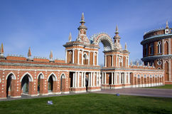 Moscow. Tsaritsyno. Gallery with arch. Royalty Free Stock Images