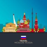 moscow Turystyka Podróżny ilustracyjny Moskwa miasto Nowożytny płaski projekt kapitałowy federacyjny Moscow najwięcej ludnego Rus Zdjęcia Stock