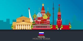 moscow Turystyka Podróżny ilustracyjny Moskwa miasto Nowożytny płaski projekt kapitałowy federacyjny Moscow najwięcej ludnego Rus Zdjęcie Royalty Free