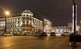 Moscow. Tverskaya street at night Royalty Free Stock Photos