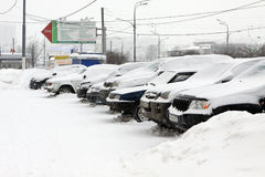 Moscow under snow. The autos on the parking Royalty Free Stock Photos