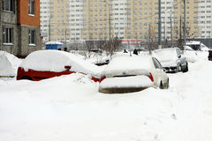 Moscow under snow. The autos on the parking Royalty Free Stock Photography