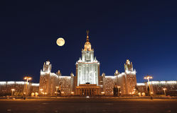 Moscow University at moonlight night Stock Photos