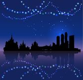 Moscow vector silhouete and Chritsmas colored lights stock photography