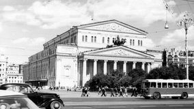 Moscow View of Bolshoi Theatre 1962 Royalty Free Stock Photo