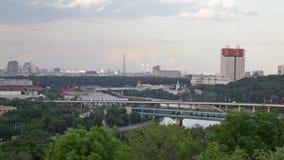 Moscow, view of the Luzhnetsky metro bridge. Moscow, stock video