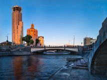 Moscow. View of the Ozerkovskaya embankment and the Maly Krasnok stock photography