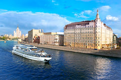 Moscow. View of river with passenger boat,  Baltschug Kempinski Stock Photography