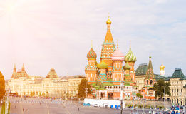 Moscow view with Saint Basil`s Cathedral Stock Photography