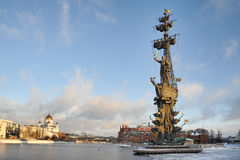 Moscow Winter Cityscape with Monument to Peter the Great Royalty Free Stock Images