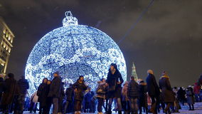 Moscow, winter evening, New Year holidays. People walk on Manezhnaya Square. stock footage