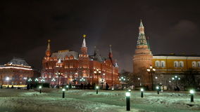 Moscow winter evening. View of the Moscow Kremlin and Historical Museum. stock video footage