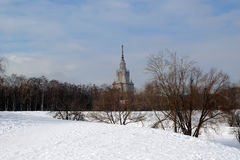 Moscow in the winter. Moscow State University Main building Stock Photography