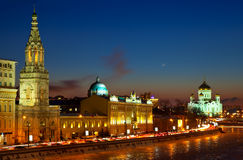 Moscow  in winter night. Russia Royalty Free Stock Photos