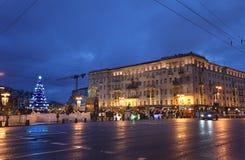 Moscow by winter night. Tverskaya street. Stock Photos