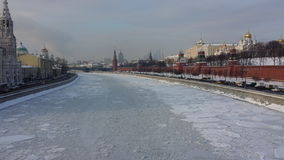 Moscow winter. Russia, kremlin, moscow river in ice Stock Images