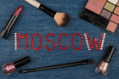 Moscow. World capitals of fashion. Word inlaid rhinestones and cosmetics. Stock Image