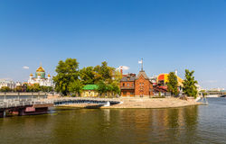 Moscow Yacht Club and Chocolate factory Krasny Oktyabr Stock Images