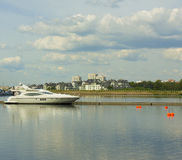 Moscow, yachts in Khimki water storage reservior Royalty Free Stock Photography