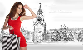 moscow zakupy Obrazy Royalty Free