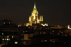 Moscu Stalinist TOWER. House elite author high-rise Chechulin era night Centrescenery city Stock Photo