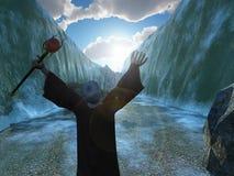 Moïse séparant la Mer Rouge Images libres de droits
