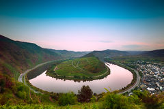 Mosel Bend (Moselschleife) at dawn, Germany Stock Image