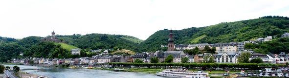 Mosel-Fluss und Cochem, Deutschland Lizenzfreies Stockfoto
