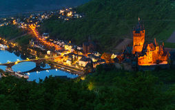 Mosel river and Cochem Imperial Castle. Panorama of Cochem with the Cochem Imperial Castle on the right side and Mosel river bellow royalty free stock photography