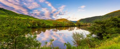 Mosel River Germany at sunset Stock Photos