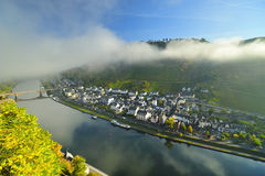 Mosel river in the morning. Houses near river Royalty Free Stock Photography